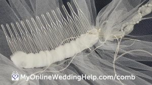 How to attach a comb to a wedding veil. Learn more on the My Online Wedding Help blog. #WeddingVeil