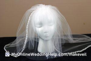 The completed DIY wedding veil, with comb attached. #DIYVeil #WeddingVeil