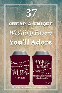 Cheap and unique wedding favor ideas when you are on a budget. Here are 37 ideas to help you brainstorm your own wedding favors. These can koozies are number 25, hard to believe they are less than $1 each. My favorite is number 24 though ... Read them all on the My Online Wedding Help blog.
