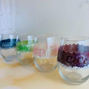 Personalized DIY Glitter Wine Glasses