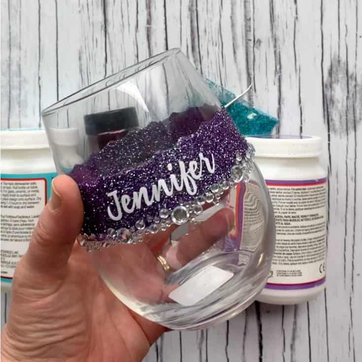 DIY Your Own Personalized Glitter Wine Glasses 12