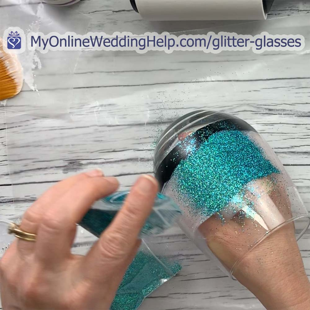 DIY Your Own Personalized Glitter Wine Glasses 4