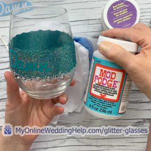 Step 4 is to apply sealant to the glitter wine glass. Put it over the name, glitter, and decoration.
