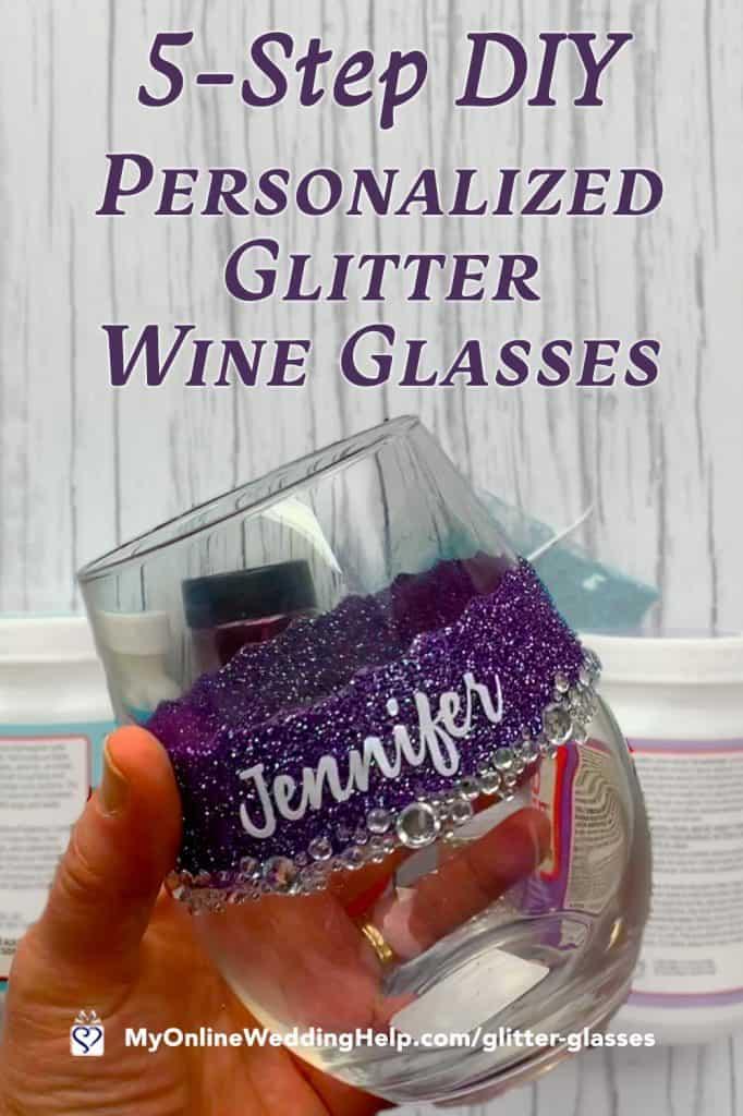 5-Step DIY Personalized Glitter Wine Glasses