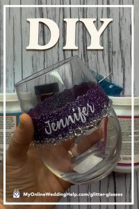 DIY Personalized Glitter Wine Glass