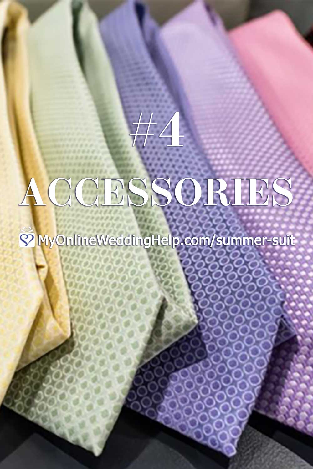 Ideas for putting together a classy men's summer wedding suit that's both formal and comfortable. These five ideas will have your guy outfitted in attire that's both appropriate and fresh. Whether he's a guest, groomsman, or groom. The fourth tip is choose the right accessories. Next, ... read them all on the My Online Wedding Help Blog. #WeddingOutfits #SummerWedding #Groomswear #Groomsmen #SummerSuit #FormalAttire
