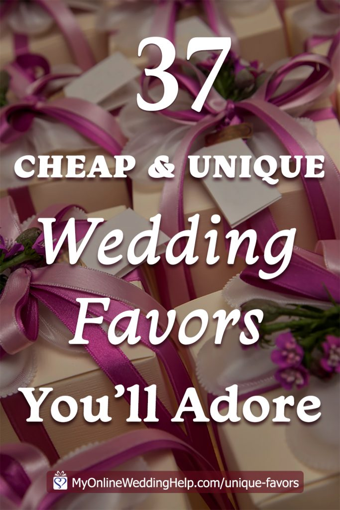 Cheap and unique wedding favor ideas when you are on a budget. Here are 37 ideas to help you brainstorm your own wedding favors.