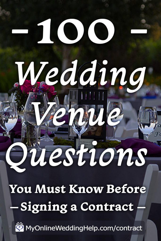 100 Wedding venue questions your must know before signing a contract.