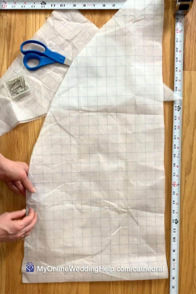 DIY veil pattern. Cut and folded in half widthwise.