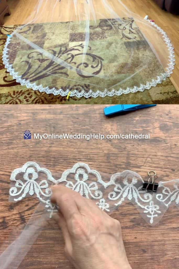 Sew Lace Trim to Cathedral Veil