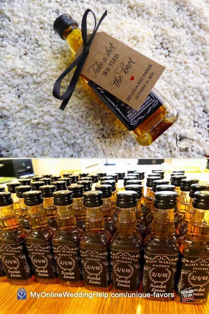 Mini Liquor Bottle Wedding Favors