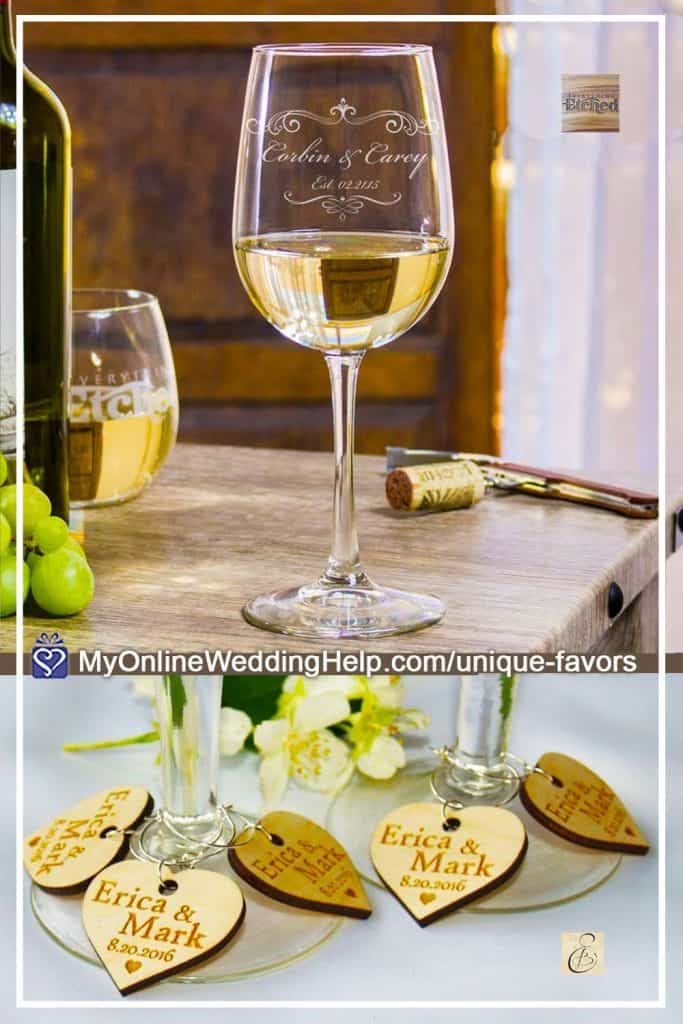 Etched Wedding Wine Glasses and Wine Glass Charm Favors