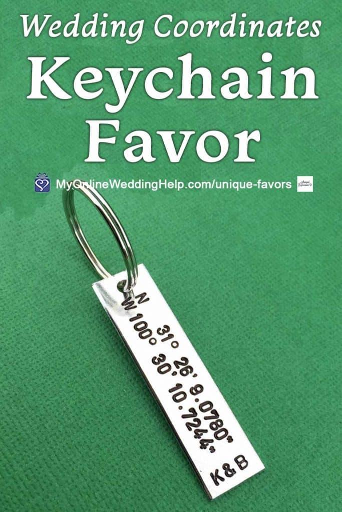 Wedding Coordinates Keychain Favor
