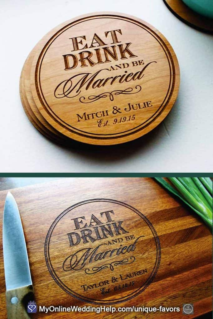 Custom Wooden Wedding Coasters and Matching Cutting Board