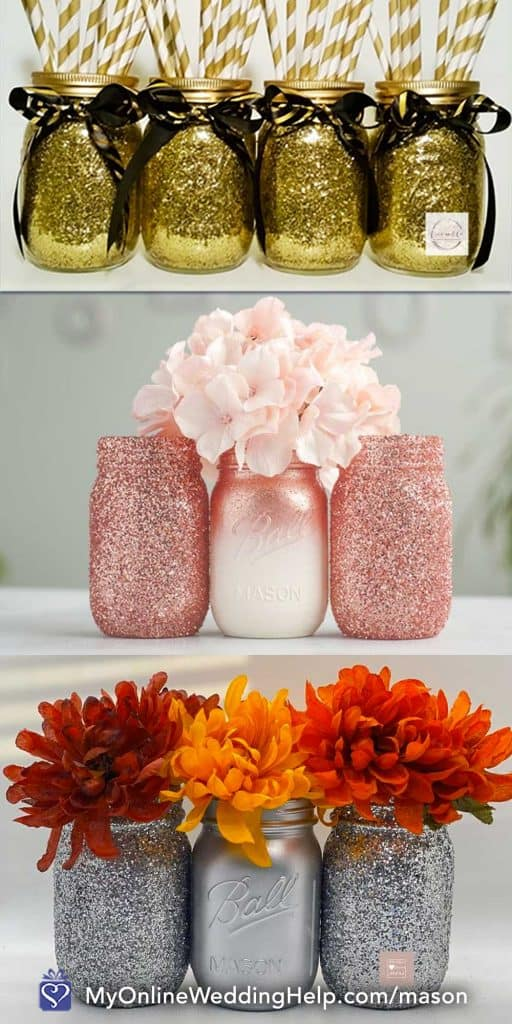 Glitter Mason Jar Centerpieces