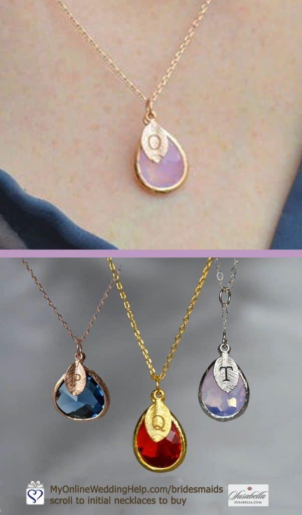 Gemstone Birthstone Initial Necklaces