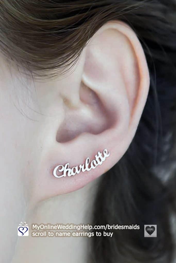 Bridesmaid Name Earrings