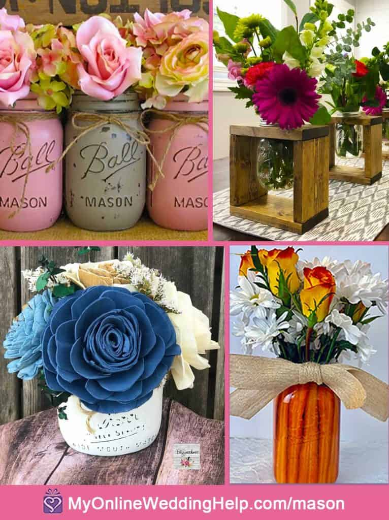 Mason Jar Centerpieces with Flowers