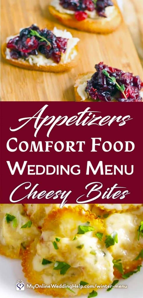 Appetizers for a Comfort Food Wedding Menu. Cheesy Bites.