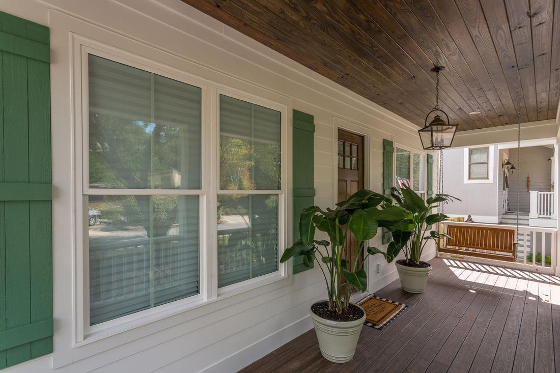 front porch, green shutters, front door