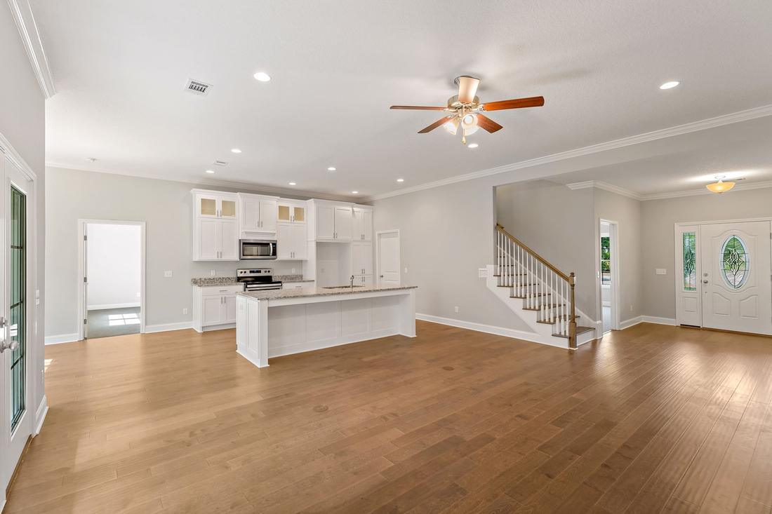 kitchen, oven, kitchen island, stairs