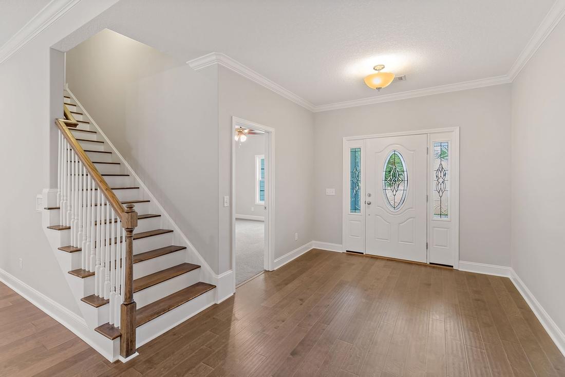 front hallway, stairs, wooden flooring