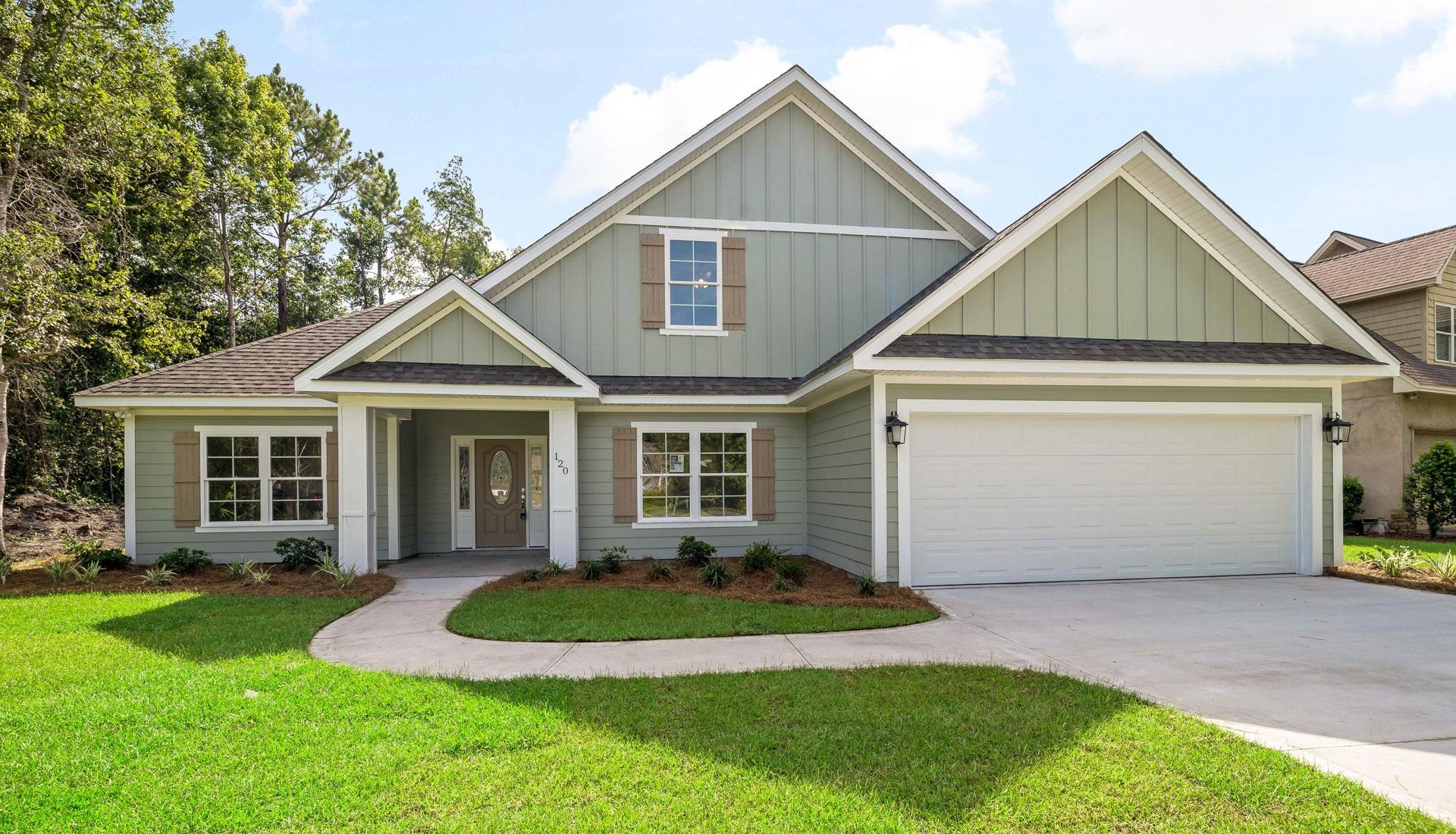front lawn, front door, garage
