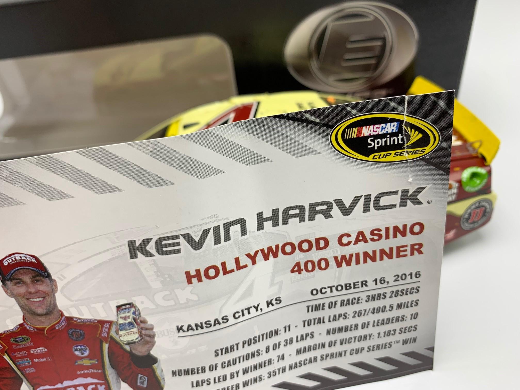 KEVIN HARVICK 2016 OUTBACK KANSAS RACED WIN 1:24 ELITE DIECAST DIN #1 (READ DESCRIPTION)