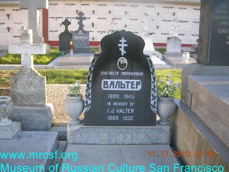 Grave/tombstone of VALTER Елизавета Гаврииловна