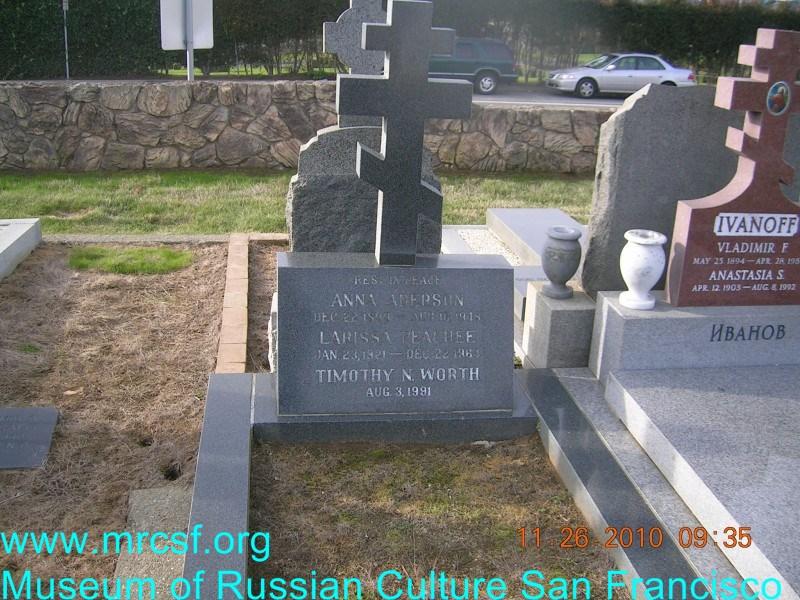 Могила/надгробие АДЕРСОН Anna