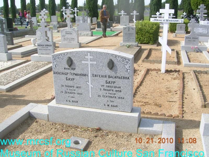 Grave/tombstone of BAUR Александр Германович