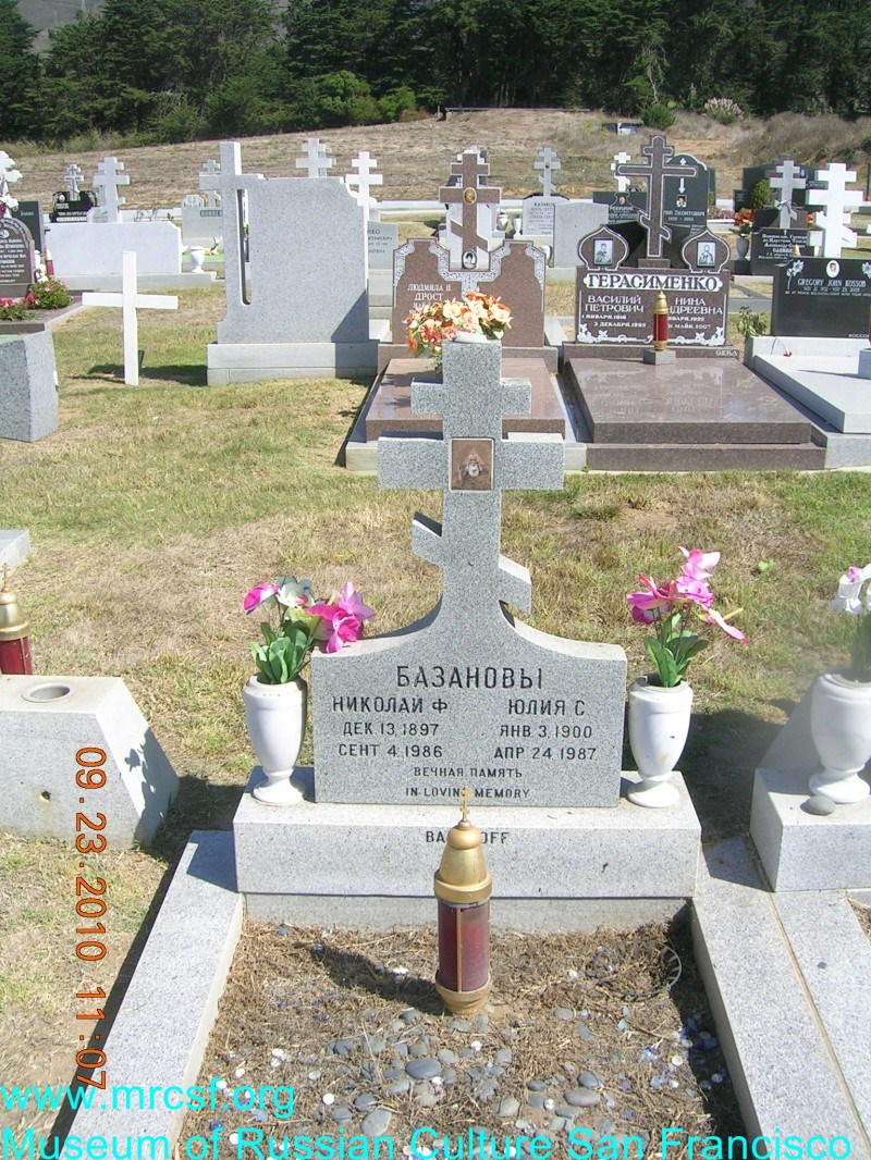 Grave/tombstone of BAZANOFF Юлия С.