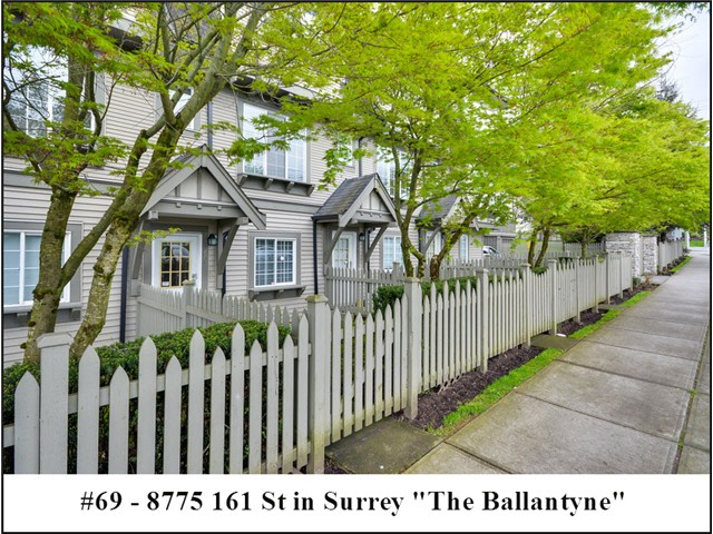 "Main Photo: 69 8775 161ST Street in Surrey: Fleetwood Tynehead Townhouse for sale in ""THE BALLANTYNE"" : MLS®# F1409288"