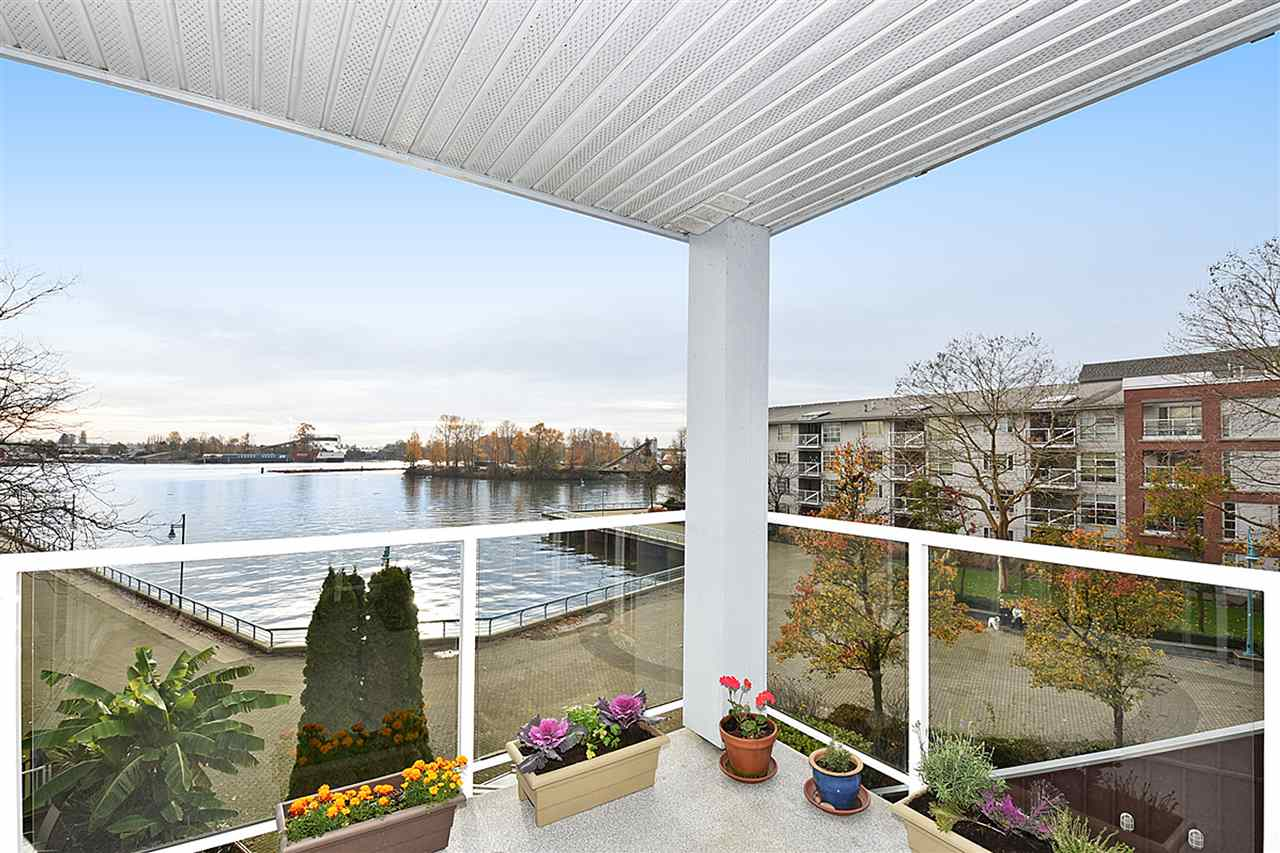 Large 100 sq ft covered balcony.  Watch the tugboats & ducks floating on the Fraser River all year round!
