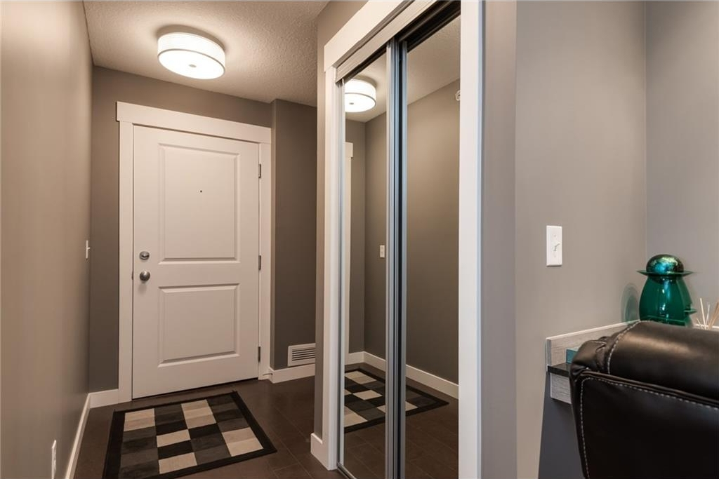 Front entry way with large mirrored closet and plenty of room for additional storage bench or wardrobe!