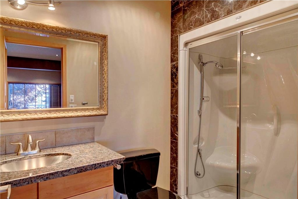 Bathroom in basement with steam shower.