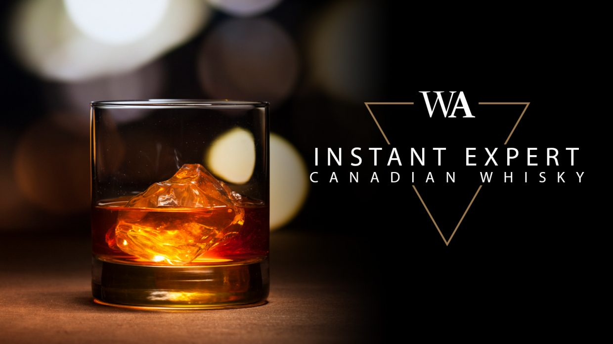 "Rocks glass filled with whisky, with the words ""Instant Expert Canadian Whisky"" and Whisky Advocate logo."