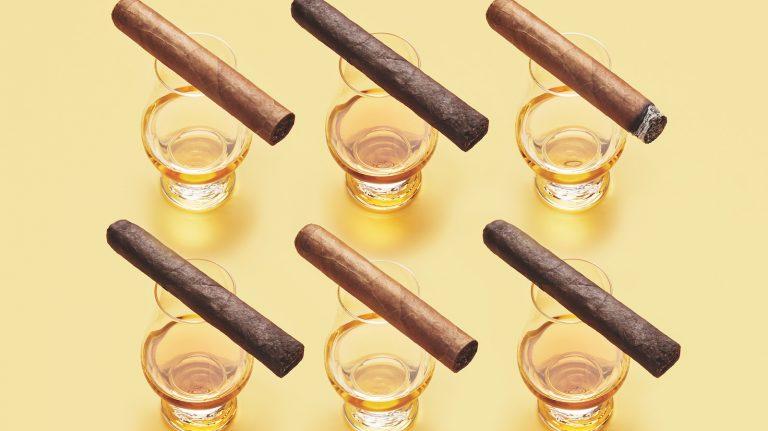 cigars rest on glencairn glasses