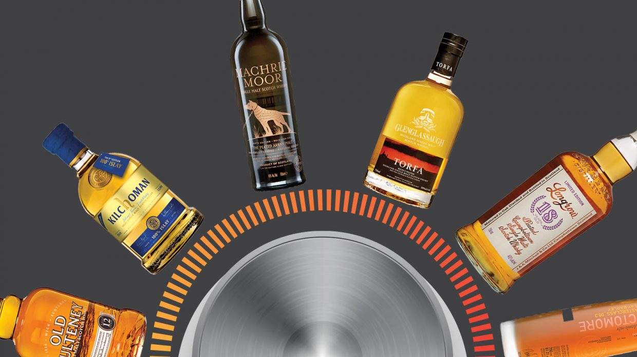 bottles of peaty scotch arranged around a volume dial