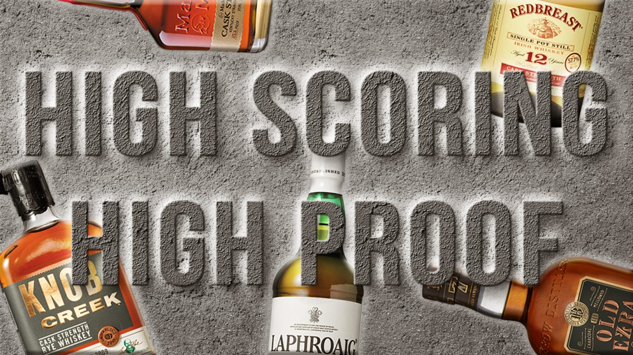 """Whiskey bottles with the text """"High Scoring High Proof"""" overlaid on top"""