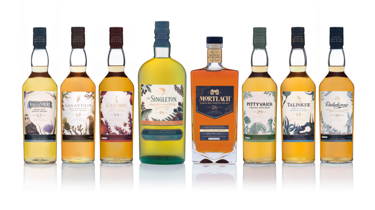 Lineup of bottles in the 2019 Diageo Special Releases Collection of scotch whisky