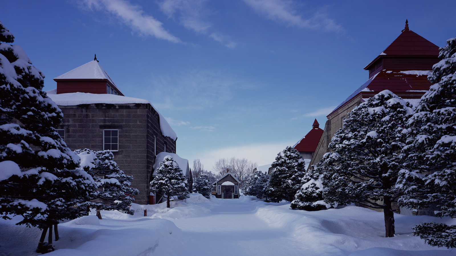 yoichi distillery in japan, covered in snow