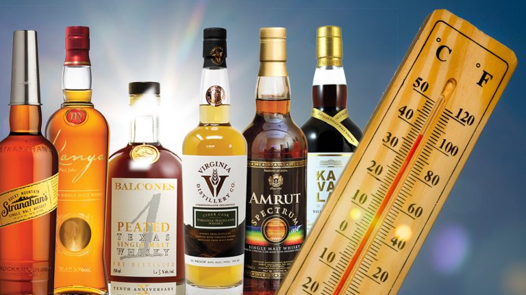 bottles of whisky matured in warm climates arrange with a thermometer