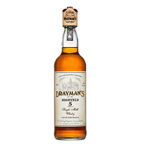 A bottle of Drayman's Highveld South African 5 year old Single Malt.