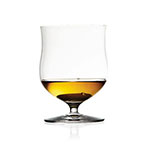 The Waterford Elegance Single Malt glass is wider and is shown holding about an ounce of whisky.