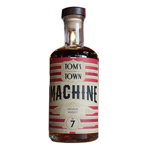 A bottle of Tom's Town Machine No. 7: Gridiron Whiskey.