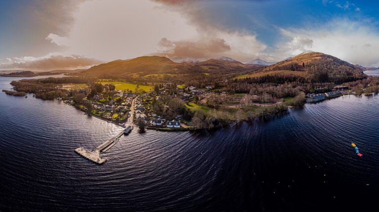An aerial view of Loch Lomond.