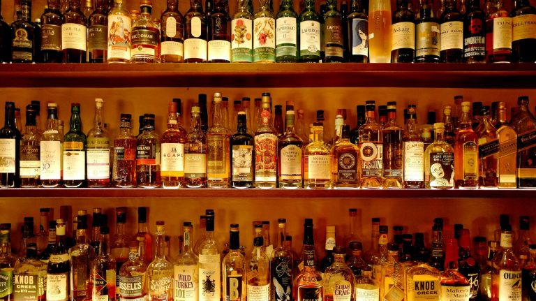 Bottles of whisky at Old Crow Bar in Zurich, Switzerland
