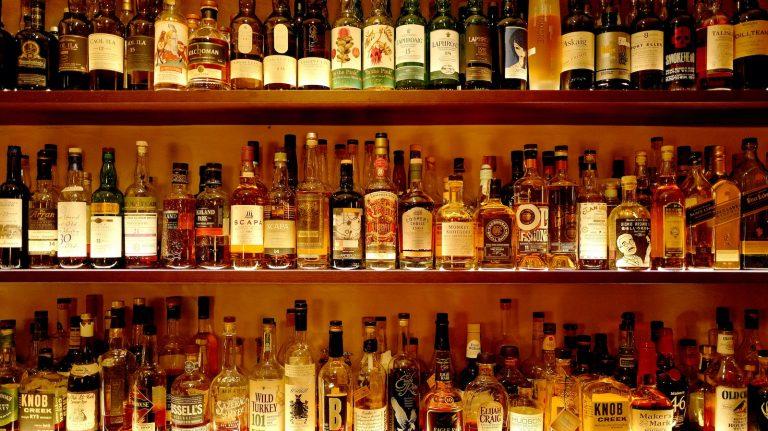 Bottles of whisky at Old Crow Bar in Zurich, Switzerland