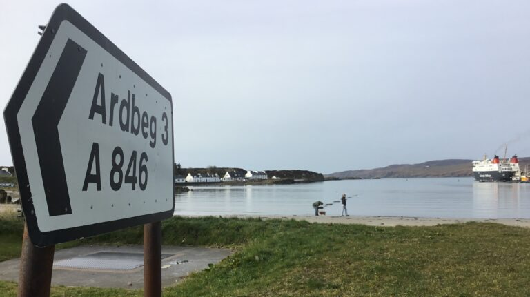 A sign indicating the Ardbeg distillery.